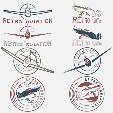 vector set of vintage labels retro aviaton