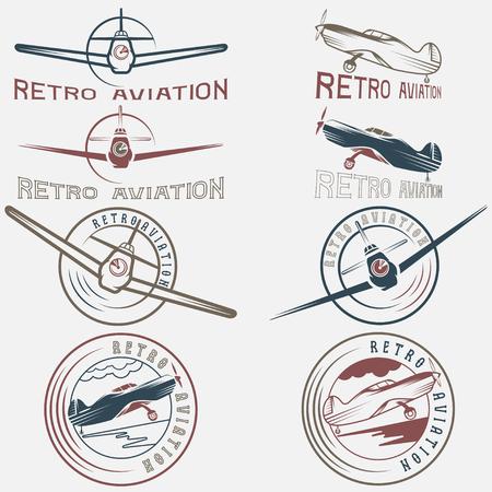 vector set of vintage labels retro aviaton