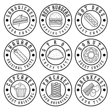 perro caliente: conjunto de etiquetas de la vendimia de alimentos