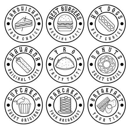 set of vintage labels of food
