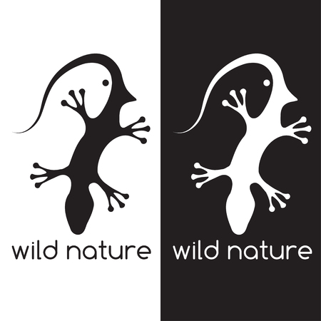 cling: lizard and head of bird negative space concept Illustration