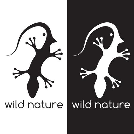 lizard and head of bird negative space concept Vektorové ilustrace