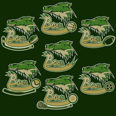 shootout: set of boars sports vintage labels Illustration