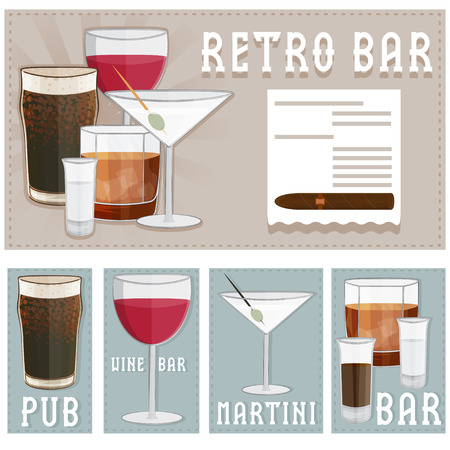 dark beer: retro poster of bar with glasses of different drinks