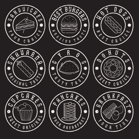 pita bread: set of vintage grunge labels of food Illustration