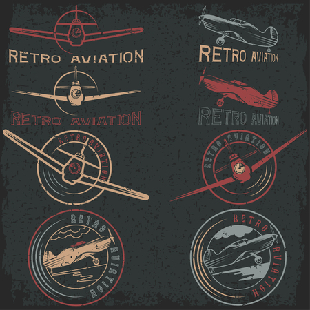 fighter pilot: vector set of grunge vintage labels retro aviaton