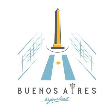 obelisco: Vector illustration of national historic monument The Obelisk of Buenos Aires
