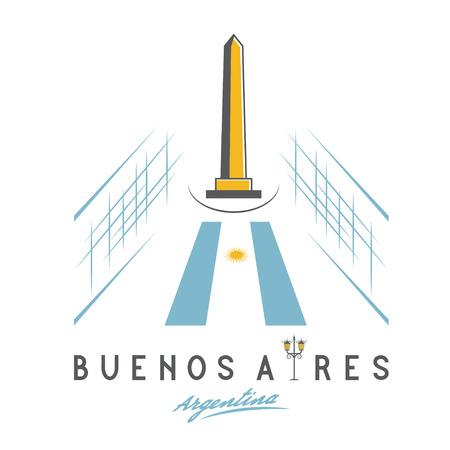 obelisk: Vector illustration of national historic monument The Obelisk of Buenos Aires