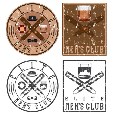 scotch whisky: mens club vintage grunge labels with cigars and whiskey glass