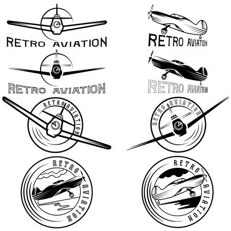 airscrew: vector set of vintage labels retro aviaton