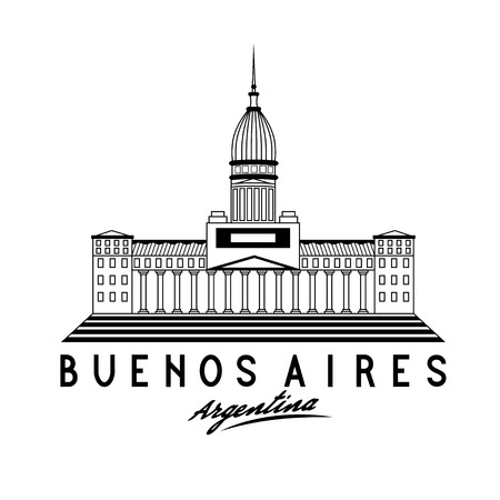 buenos aires: Building of Congress in Buenos Aires, Argentina, vector illustration Illustration