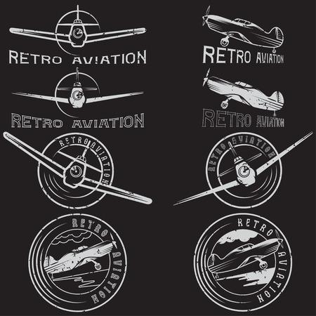 vector set of grunge vintage labels retro aviaton