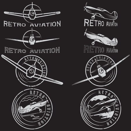 pilot wings: vector set of grunge vintage labels retro aviaton