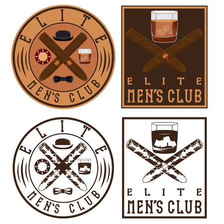 havana cigar: mens club vintage labels with cigars and whiskey glass
