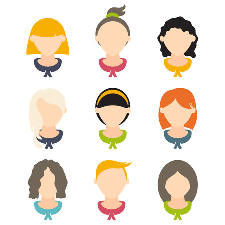 nerdy: Set flat design of girls with different hairstyles. Vector illustration