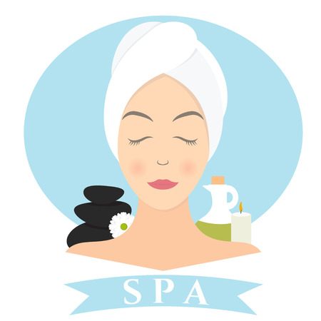 reiki: Flat design of a woman with towel in spa. Vector illustration