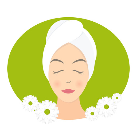 beauty care: Flat design of a woman with towel in spa. Vector illustration