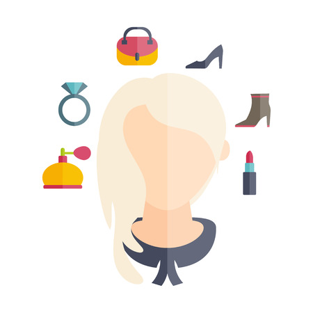 a glamour: Flat design of a girl with hairstyle and icons of various womens accessories. Vector illustration