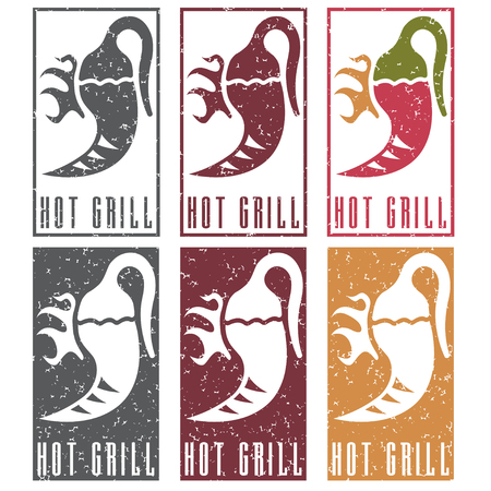 chili pepper: chili pepper with fire grunge vector labels set Illustration