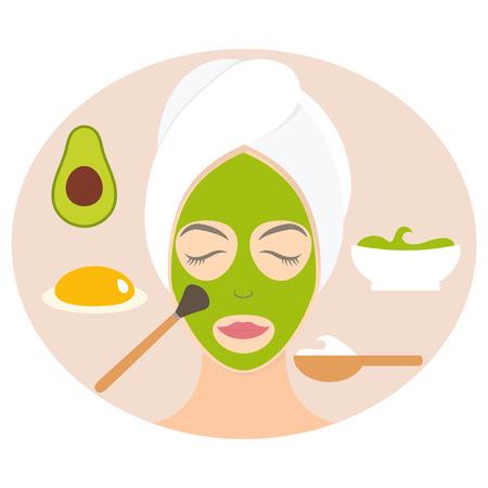 egg yolk: Flat design woman in natural mask of yogurt, egg yolk and avocado. Vector illustration