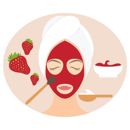 Flat design woman in natural mask of yogurt, egg yolk and strawberry. Vector illustration Vettoriali