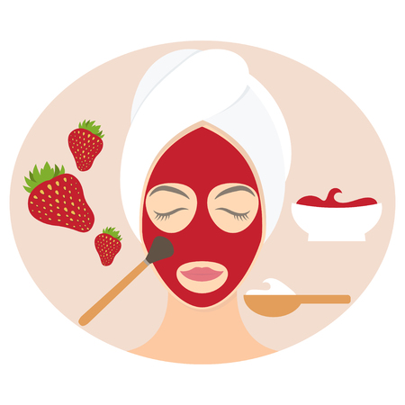 Flat design woman in natural mask of yogurt, egg yolk and strawberry. Vector illustration Stock Illustratie