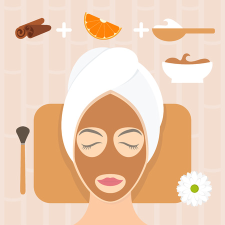 skin care products: Flat design woman in natural mask of yogurt, orange and cinnamon. Vector illustration Illustration
