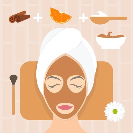 productos naturales: mujer de diseño plano en la máscara natural de yogur, naranja y canela. ilustración vectorial