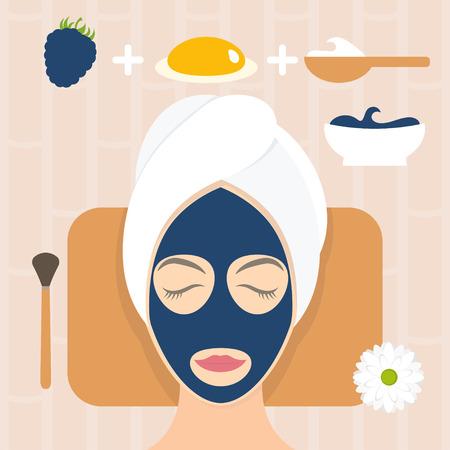 egg yolk: Flat design woman in natural mask of yogurt, egg yolk and blackberry. Vector illustration