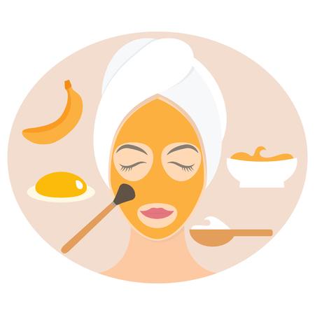 egg yolk: Flat design woman in natural mask of yogurt, egg yolk and banana. Vector illustration
