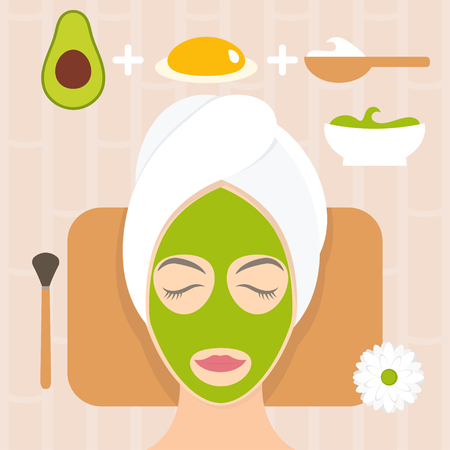 Flat design woman in natural mask of yogurt, egg yolk and avocado. Vector illustration