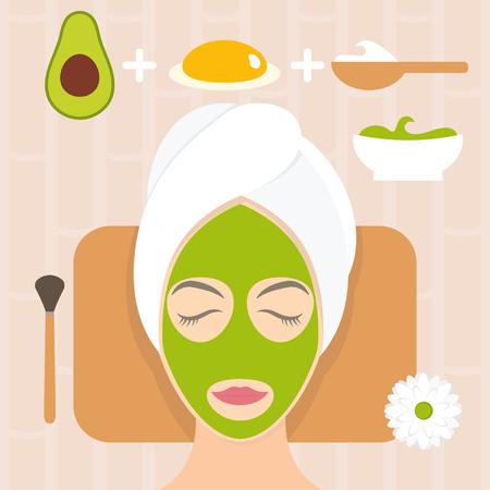 yogurt: Flat design woman in natural mask of yogurt, egg yolk and avocado. Vector illustration