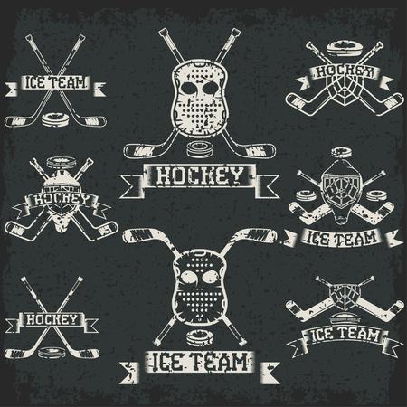sport club: hockey sport club grunge vintage labels set