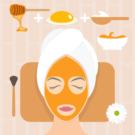 Flat design woman in natural mask of yogurt, egg yolk and honey. Vector illustration