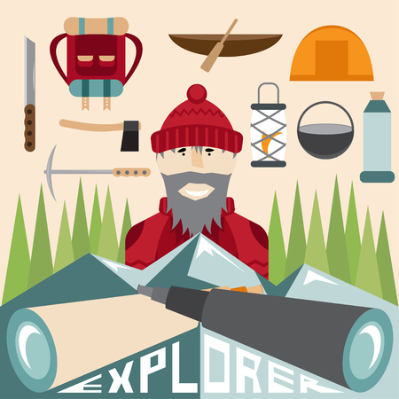 hike: flat design of explorer with spyglasses and elements of hike Illustration