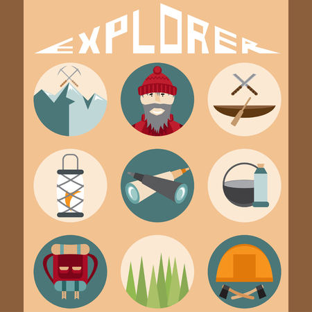 hike: flat design icons of explorer and elements of hike Illustration