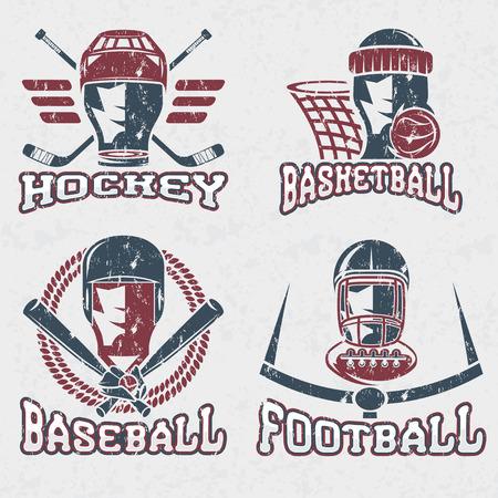 football ball: grunge vintage sport vector labels set