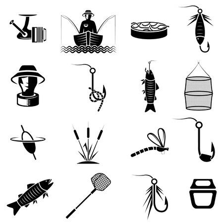 redes de pesca: vector conjunto de iconos en el tema de la pesca