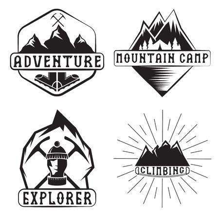 himalaya: set of vintage labels mountain adventure and climbing