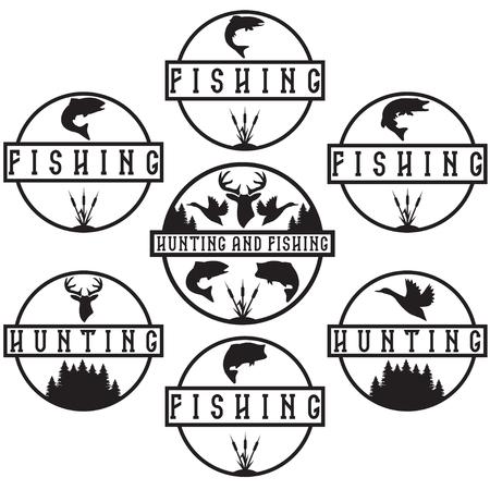 ビンテージの狩猟や釣りのラベルのセット  イラスト・ベクター素材