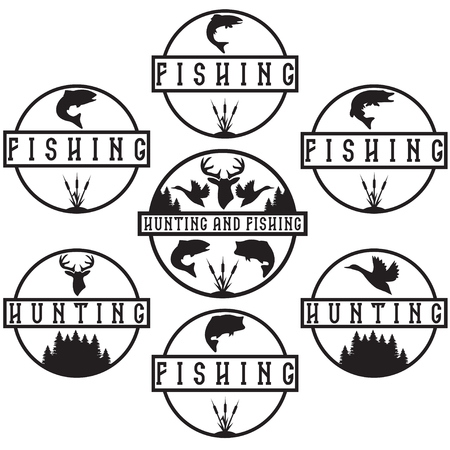 trout fishing: Set of vintage hunting and fishing labels