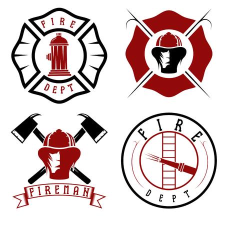 bombero: Conjunto de emblemas del cuerpo de bomberos e insignias