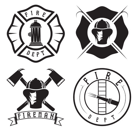 patron: Set of fire department emblems and badges
