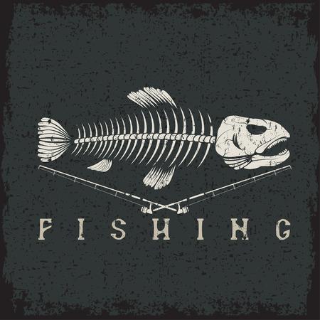 vintage fishing grunge emblem with skeleton of trout