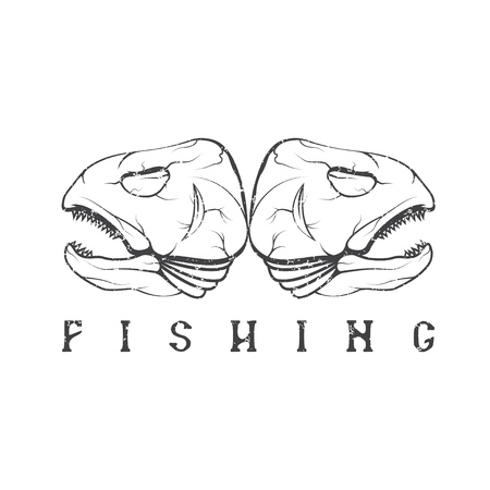 minnow: vintage fishing grunge emblem with skulls of trout