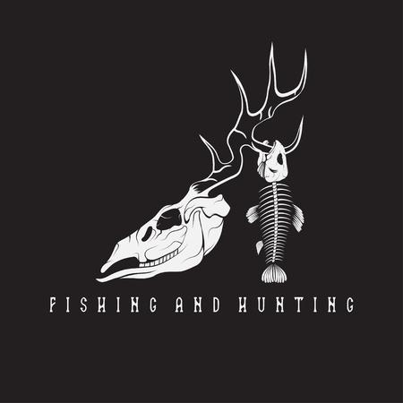 hunting and fishing vintage emblem with skulls of animals Illustration