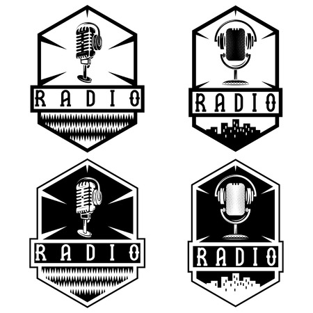 microphone: vintage labels of radio with microphone and headphones