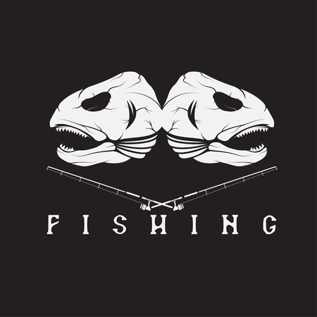 largemouth bass: vintage fishing emblem with skulls of trout