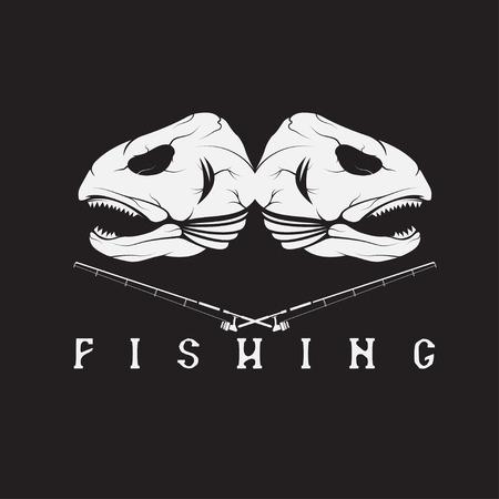 largemouth: vintage fishing emblem with skulls of trout