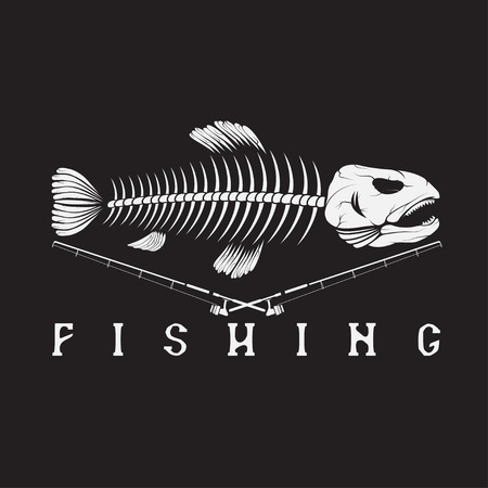 vintage fishing emblem with skeleton of trout Illustration